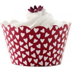 Hearts (vit/röd), cupcake wraps