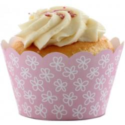 Daisies (vit/rosa), cupcake wraps