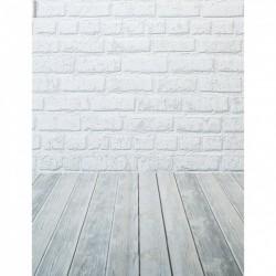 Vitt tegel med grått golv, bakedrop