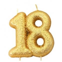 18, glittrigt sifferljus (guld)