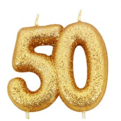 50, glittrigt sifferljus (guld)