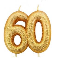 60, glittrigt sifferljus (guld)