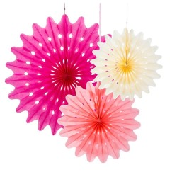 Bright Pink, 3 st paper fan