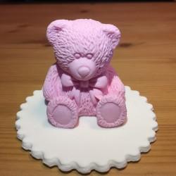 Björn, handgjord tårtdekoration (rosa)