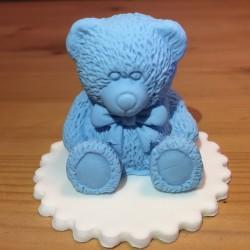 Björn, handgjord tårtdekoration (blå)