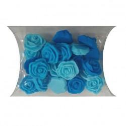 Mini Rosor, handgjord tårtdekoration (blåa)
