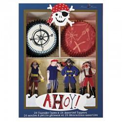 Ahoy Pirates, 24 st muffinsformar och flaggor