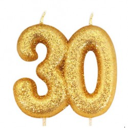 30, glittrigt sifferljus (guld)