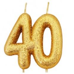 40, glittrigt sifferljus (guld)
