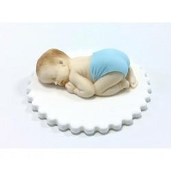 Baby, handgjord tårtdekoration (blå)
