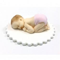 Baby, handgjord tårtdekoration (rosa)