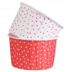 Dotty, röda och vita muffinskoppar