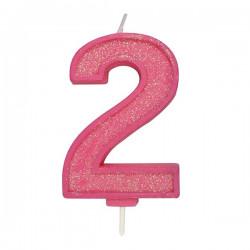 2, glittrigt sifferljus (rosa)