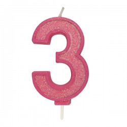 3, glittrigt sifferljus (rosa)