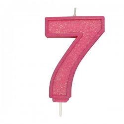 7, glittrigt sifferljus (rosa)