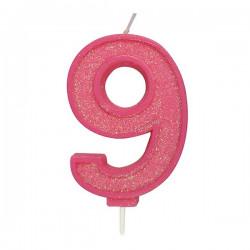 9, glittrigt sifferljus (rosa)