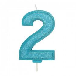 2, glittrigt sifferljus (blå)