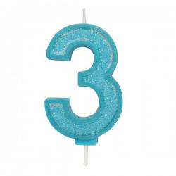 3, glittrigt sifferljus (blå)