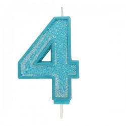 4, glittrigt sifferljus (blå)