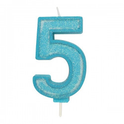 5, glittrigt sifferljus (blå)