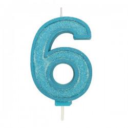 6, glittrigt sifferljus (blå)