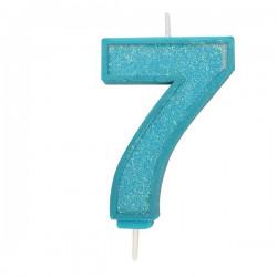 7, glittrigt sifferljus (blå)