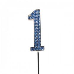 Cake Topper, siffran 1 (blå)
