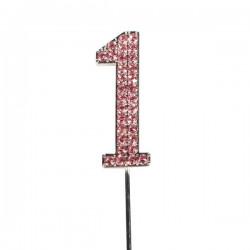 Cake Topper, siffran 1 (rosa)