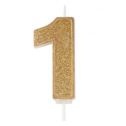 1, glittrigt sifferljus (guld)