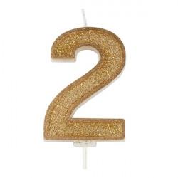 2, glittrigt sifferljus (guld)