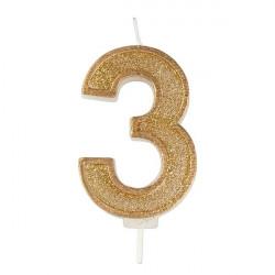 3, glittrigt sifferljus (guld)