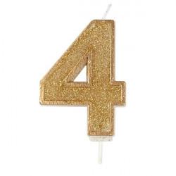 4, glittrigt sifferljus (guld)
