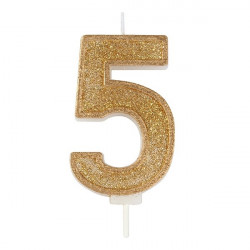 5, glittrigt sifferljus (guld)