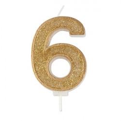 6, glittrigt sifferljus (guld)