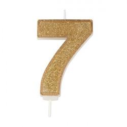 7, glittrigt sifferljus (guld)