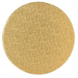 Guld, rund tårtbricka (ca 25 cm - FC)
