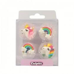 Unicorn, 12 st ätbara kristyrfigurer