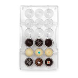 Halvklot m hål (18 st), chokladform i hård plast