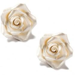 Rosor, 6 st pearl white (large)