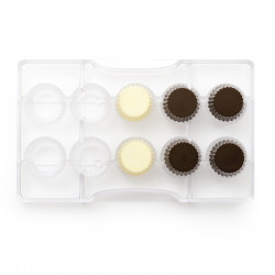 Pralin, chokladform i hård plast
