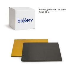 Kvadrat, guld/svart ca 24 cm (60 st)