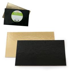 Rektangel tårtbricka, guld/svart 30 x 20 cm