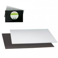 Rektangel tårtbricka, silver/svart 40 X 30 cm