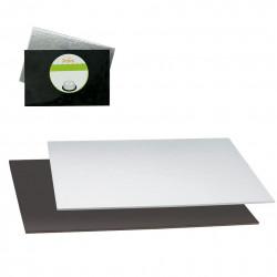 Rektangel tårtbricka, silver/svart 30 X 20 cm