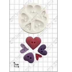 Hjärtknappar, silikonform