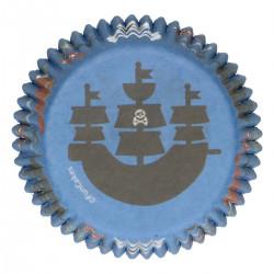 Pirater, 48 st blå muffinsformar