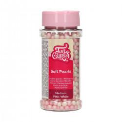 Rosa och Vita sockerpärlor (mjuka), 6 mm