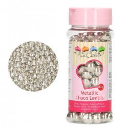 Choco knappar, metallic silver