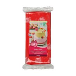 Röd sockerpasta m vaniljsmak, 1 kg (Fire Red)