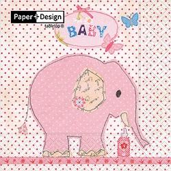 Baby Elephant - Pink, 20 st servetter